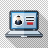 Laptop icon in flat style with user login form on the screen on transparent background. Laptop icon in flat style with user login form on the screen and long royalty free illustration