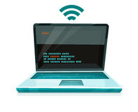 Laptop icon with free wi-fi symbol Royalty Free Stock Photography