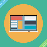 Laptop Icon illustration - vector illustration. Flat design element Stock Images