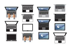 Laptop icon set. Icon, symbol, technology, Stock Photo