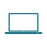 Laptop icon, vector illustration, Flat blue design style. Simple vector icon royalty free illustration