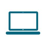 Laptop icon, vector illustration, Flat blue design style. Simple icon Stock Image
