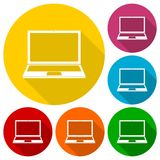 Laptop icon, vector illustration set with long shadow Stock Photography