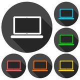 Laptop icon, vector illustration set with long shadow Royalty Free Stock Image
