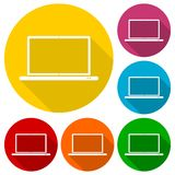 Laptop icon, vector illustration set with long shadow Royalty Free Stock Photo