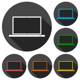 Laptop icon, vector illustration set with long shadow Stock Images