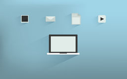 Laptop Icons with program file. Laptop ,Notebook Icons with media and data file Stock Photos