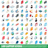 100 laptop icons set, isometric 3d style Stock Images