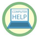 Laptop ikona z słowo komputeru pomocą « Wektorowe grafika w mieszkanie stylu ilustracja wektor