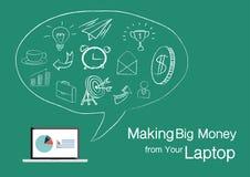 Laptop-Ikone Moderne Vektorillustration der flachen Designart Lizenzfreie Stockfotografie