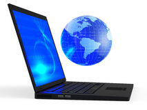 Laptop with illuminated globe Stock Photo