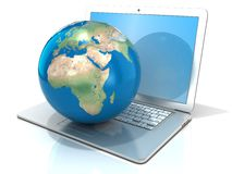 Laptop with illustration of earth globe, Europe and Africa view. 3D rendering isolated on white background. Elements of this image furnished by NASA Royalty Free Stock Photography