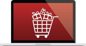 Laptop illustration with red screen, shopping cart and gift icon Royalty Free Stock Photography