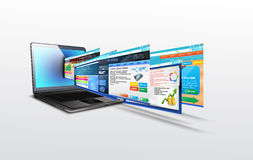 Laptop with illustration of template website Royalty Free Stock Photography