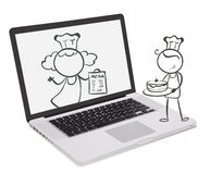 A laptop with an image of chefs Royalty Free Stock Photography