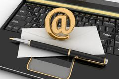 Laptop with incoming letter via e-mail Stock Photo