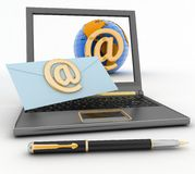 Laptop with incoming letter via e-mail Stock Image