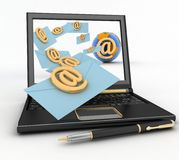 Laptop with incoming letters via e-mail Royalty Free Stock Photo