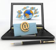 Laptop with incoming letters via e-mail Royalty Free Stock Photography