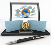 Laptop with incoming letters via e-mail Stock Photography