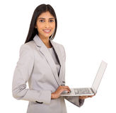 laptop indiano da mulher de negócios Imagem de Stock Royalty Free