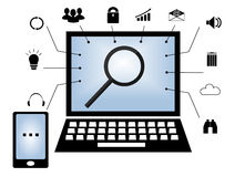 The laptop is induced with at its center a magnifying glass and standing with a mobile phone Stock Photography