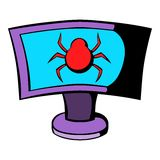 Laptop is infected by malware icon cartoon. Laptop is infected by malware icon in cartoon style isolated vector illustration Stock Photo