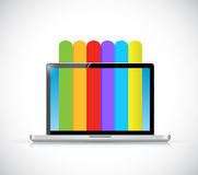 Laptop and info graphic color lines illustration. Design over a white background vector illustration