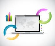 Laptop info graphics illustration design Stock Photos
