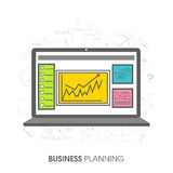 Laptop with infographics for Business Planning concept. Creative illustration of a laptop with infographic elements for Business Planning concept Royalty Free Stock Images