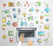 Laptop infographics -handdrawn style. Stock Photo