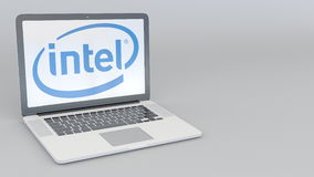 Laptop with Intel Corporation logo. Computer technology conceptual editorial 3D rendering Stock Photo