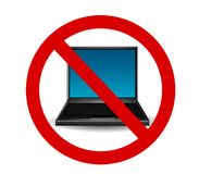 Laptop Internet Ban Stock Image