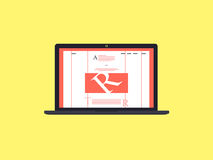 Laptop with internet blog on screen royalty free stock image