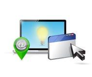 Laptop internet and ideas illustration design Stock Photos