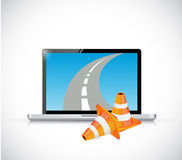 Laptop and internet road illustration design Royalty Free Stock Photo