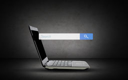 Laptop with internet search browser on screen Royalty Free Stock Image