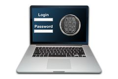 Laptop internet security concept, isolated stock images