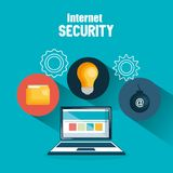 Laptop with internet security icons. Vector illustration design Royalty Free Stock Photography
