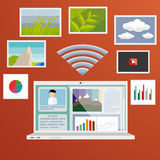 Laptop and internet Stock Image