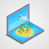 Laptop with an island in the sea and an airplane. Vector illustration. A laptop icon with an island in the sea and an airplane in the sky with a cloud. Concept Stock Photo