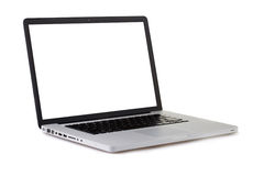 Laptop isolated. Silver portable computer. Isolated white screen Royalty Free Stock Photos