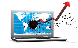 Laptop isolated with an arrow from the screen Stock Images