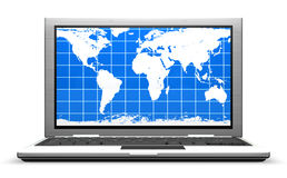 Laptop isolated with an arrow from the screen Royalty Free Stock Photography
