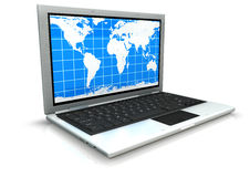 Laptop isolated with an arrow from the screen Royalty Free Stock Photo