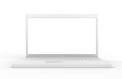 Laptop isolated,back lit. White screen with high luminosity Royalty Free Stock Images