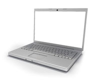 Laptop Isolated [Clipping Path]. Hi-Tech titanium Laptop Computer (wide angle) with Clipping Path around Screen and Outline Royalty Free Stock Images