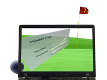 Laptop isolated with putting green in background Stock Image