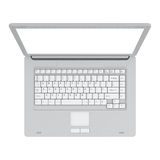 Laptop isolated top view Royalty Free Stock Photo