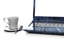 Laptop isolated on white with clipping path, 3d render Stock Photo